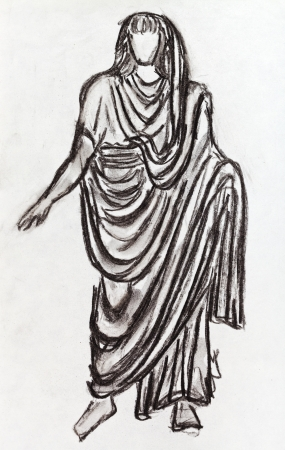 habiliment: historical costume - ancient Roman emperor in a toga styled with a statue of the 1st century BC