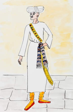historical clothes - medieval Arabic traditional male costume stylized under Persian miniatures