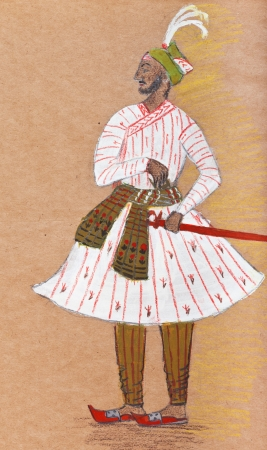 habiliment: historical clothes - Indian warrior in traditional dress stylized under the Indian miniature 17th century Stock Photo