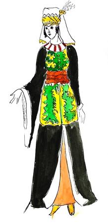 ropa histórica - mujer siria en el vestido tradicional estilizada en miniatura del siglo 17 Foto de archivo - 19879229
