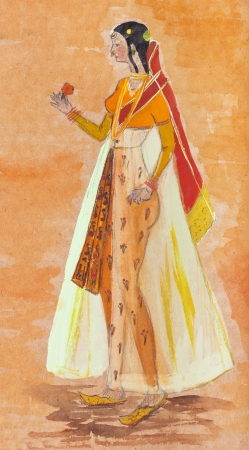 habiliment: historical clothes - Indian woman in a transparent dress styled as a 17th-century Indian miniature Stock Photo