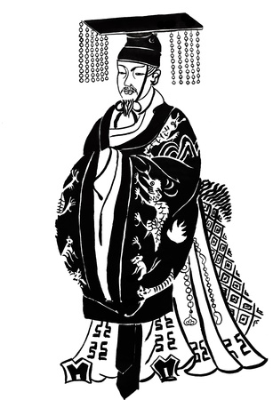 design costume: historical clothes - stylized image of Chinese wise man in traditional dress from ancient Chinese prints