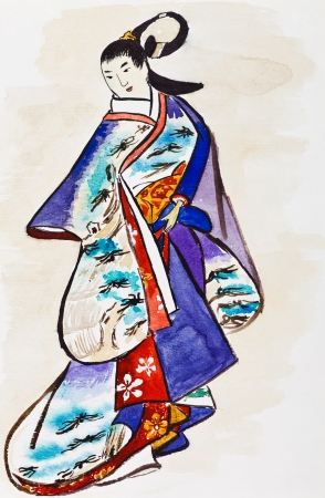habiliment: historical clothes - Japanese young woman in traditional dress stylized under print of Kaigetsudo Ando (Ando Yasunori) 14th century