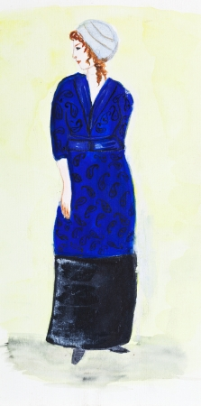 velvet dress: fashion of 20th Century - lady in turban and a dark blue velvet suit 1911 year