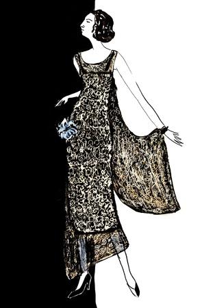 robe de soir�e: mode de 20th Century - dames robe de soir�e ann�es 20 Banque d'images