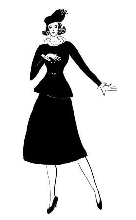 fashion of 20th Century - female outdoor costume of black velvet 30th years Stock Photo - 19915760