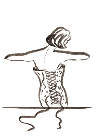 fashion of 20th Century - woman in evening corset in 30th years photo