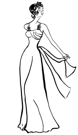 evening gown: fashion of 20th Century - evening gown from white satin in 30th years