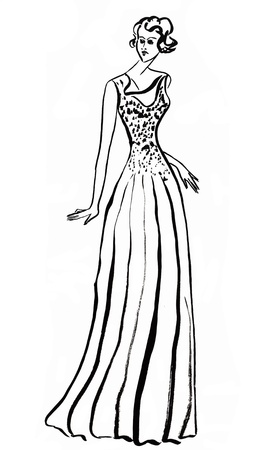 evening gown: fashion of 20th Century - long evening gown in 30th years