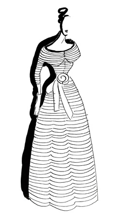 habiliment: fashion of 20th Century - Casual ladies long striped dress in 50th years