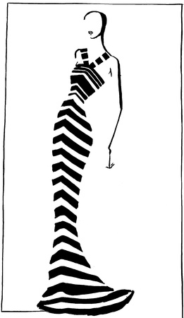 habiliment: fashion of 20th Century - narrow striped evening gown in 90th years