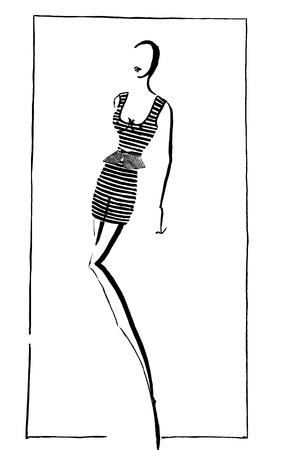 design costume: fashion of 20th Century - short summer mini dress in 90th years Stock Photo