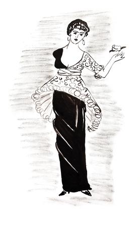 la moda del siglo 20 - se�oras vestido de c�ctel pir�mide de principios del siglo 20 Foto de archivo - 19942669