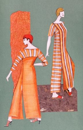 slits: model of woman clothing - long orange striped dress with slits