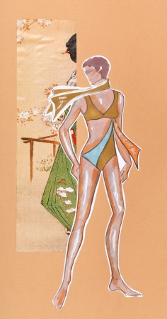 swimming costume: model of woman clothing - swimming costume