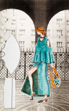 incision: model of woman clothing - summer urban youth female clothing - long skirt with a large incision and a cloak