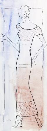 narrow: model of woman clothing - women summer suit - long narrow dress Stock Photo