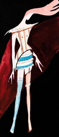 bas r�sille: mod�le de femme v�tements - dames stylis�s robes de soir�e - robe courte avec une mini-jupe et bas r�sille diff�rents