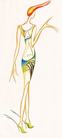 cocktaildress: model van de vrouw kleding - gestileerde dames party jurk - korte cocktailjurk met een snee in de rug