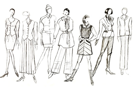 habiliment: sketch of fashion model - layouts of female clothes