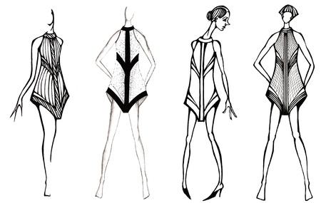 habiliment: sketch of fashion model - selection of decoration of short summer dress