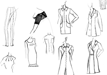 maquette: sketch of fashion model - finishing details of women dresses