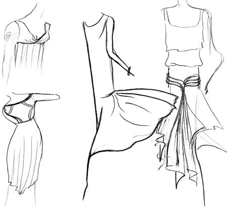 habiliment: sketch of fashion model - skirts of women summer dresses
