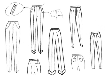 maquette: sketch of fashion model - finishing details of women trousers