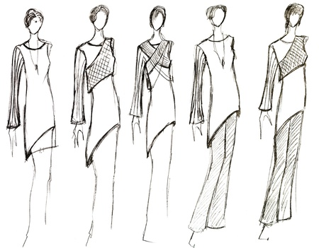 habiliment: sketch of fashion model - collection of women short summer dresses