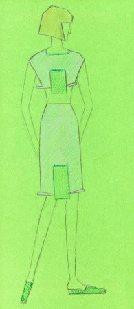 habiliment: sketch of fashion model - sketch of knitted women wear short dress