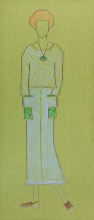 long skirt: sketch of fashion model - sketch of knitted women wear sweater and long skirt with pockets