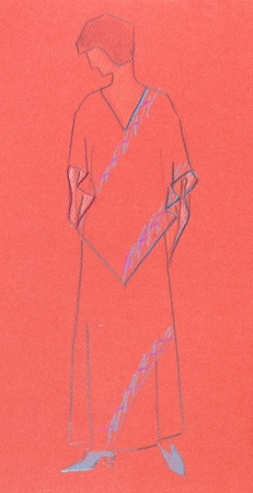 habiliment: sketch of fashion model - sketch woman knitwear cape and long skirt