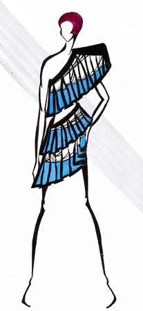 cocktaildress: schets van mannequin - cocktail jurk van blauwe brede band van weefsel