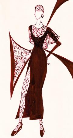 slit: boceto de modelo de moda - vestido de noche de color marr�n con gran hendidura