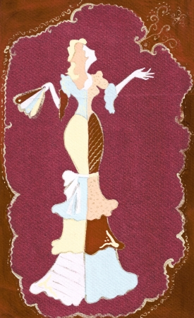 evening gown: sketch of fashion model - lady with fan in narrow evening gown with frills