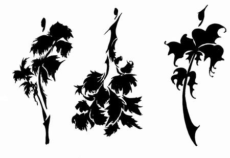 designing: sketch of fashion model - designing female dresses based on herbs