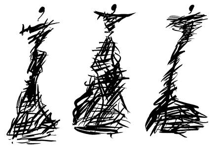 form: sketch of fashion model - designing evening dresses based on thorny bush