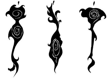 designing: sketch of fashion model - designing female dresses based by stylized black clouds