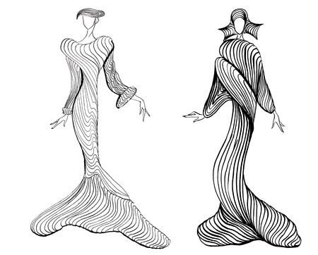 designing: sketch of fashion model - designing evening dresses based on sand dunes