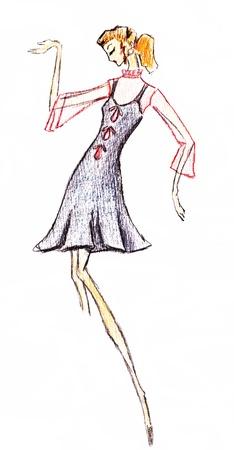 sundress: sketch of fashion model - summer short sundress