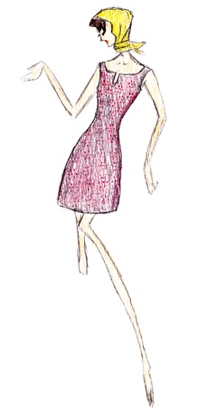 habiliment: sketch of fashion model - simple short pink summer dress mini and scarf