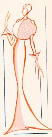designing: sketch of fashion model - using of sphere in dress designing