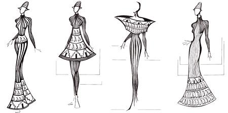 9b6c75da9  19980578 - Boceto de modelo de moda - diseño de vestidos basa en la  columna arquitectura
