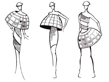 fb5a38dd2  19980572 - Boceto de modelo de moda - diseño de vestidos basa en la  arquitectura de la cúpula