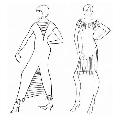 habiliment: sketch of fashion model - dress design by Egyptian motives