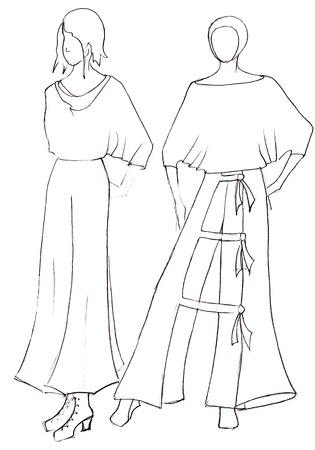 peasant: sketch of fashion model - dress design by peasant motifs