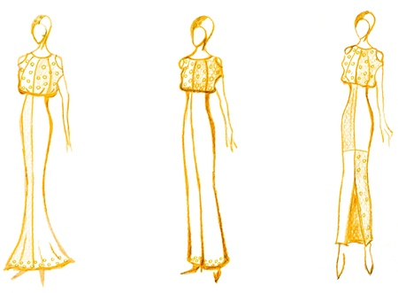 sketch of fashion model - development of ladies evening gown photo