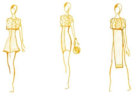 472da1687 Boceto de modelo de moda - el desarrollo de las señoras vestido de cóctel  Foto de