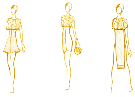 cocktaildress: schets van fashion model - de ontwikkeling van de dames cocktail jurk Stockfoto