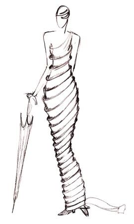 egyptian mummy: sketch of fashion model - design evening dresses on basis of Egyptian mummy Stock Photo